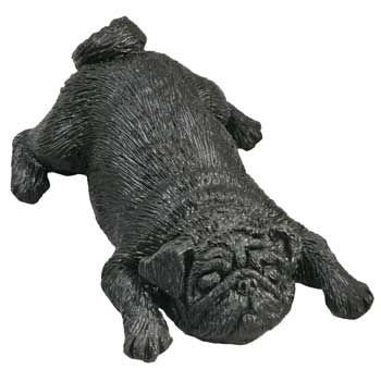 Sandicast Pug Snoozer Dog Figurine - Black
