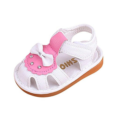 DEESEE(TM) Baby Shoes For 3-24M Hollow Sandals Soft Sole Princess Girls Bowknot Beach Anti-Slip Squeaky Single Shoes (18M, White) from DEESEE(TM)