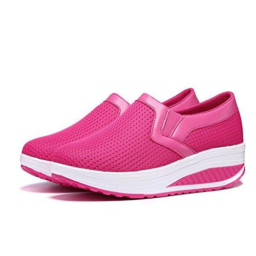 de Plataforma Color Malla Casuales tamaño Camina Que Zapatos Que señoras Las cuña de Sacudida Barco Zapatos Zapatillas Rosado Deporte Mujeres de del Las de de Corre Casuales Negro Las 36 4q4nBprU