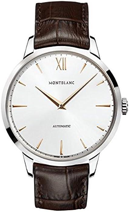Montblanc Watches Reloj Analógico para Hombre de Automático con Correa en Cuero 110695