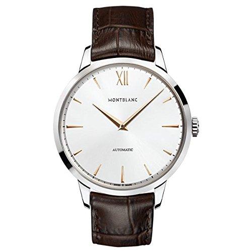 Montblanc Watches Reloj Analógico para Hombre de Automático con Correa en Cuero 110695: Amazon.es: Relojes