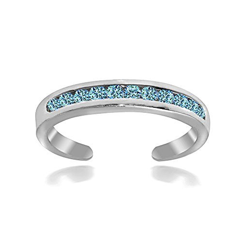 Hoops & Loops Sterling Silver Blue Channel-Set Cubic Zirconia Toe Ring