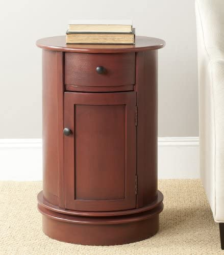 Safavieh American Homes Collection Tabitha Red Oval Swivel Storage End Table