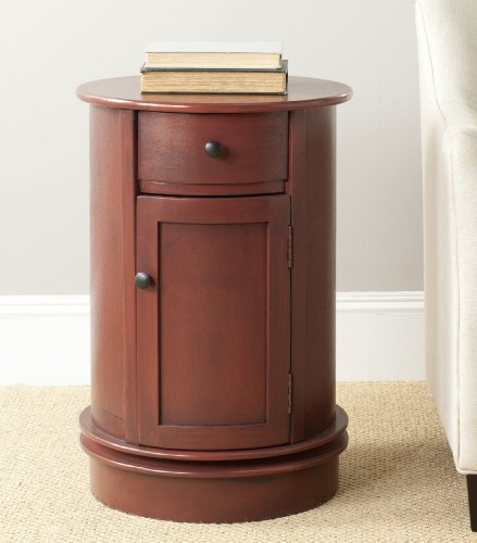 Safavieh American Homes Collection Tabitha Red Oval Swivel Storage End Table Round End Table Cabinet
