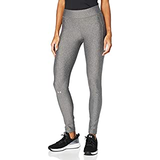 Under Armour Women's HeatGear Armour Leggings , Charcoal Light Heather (019)/Metallic S , Large Short