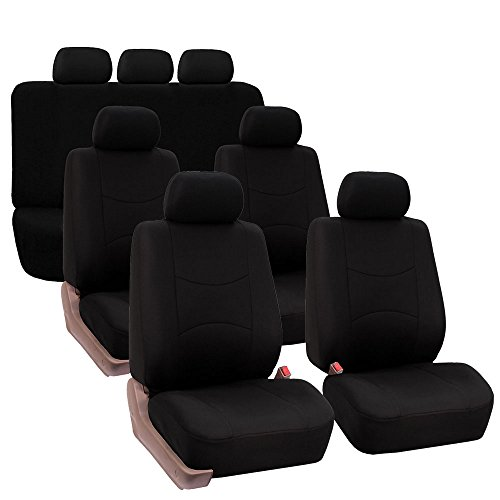 FH GROUP FB051217 Three- Row Multifunctional Flat Cloth Car Seat Covers, Airbag Compatible and Split Bench Solid Black - Fit Most Car, Truck, Suv, or Van