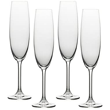 Circleware Soiree Glass Wine Champagne Drinking Flutes, Set of 4, 8.5 oz, Clear