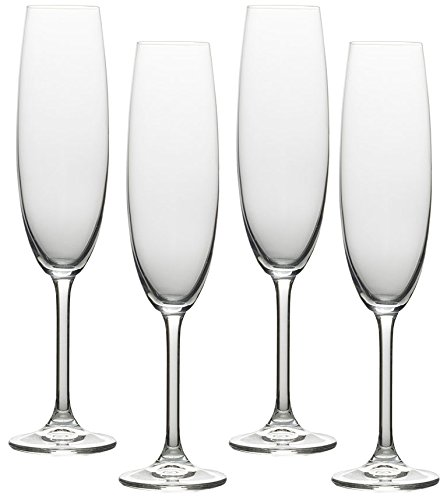 Copper Champagne Bowl (Circleware Soiree Glass Wine Champagne Drinking Flutes, Set of 4, 8.5 oz., Clear)