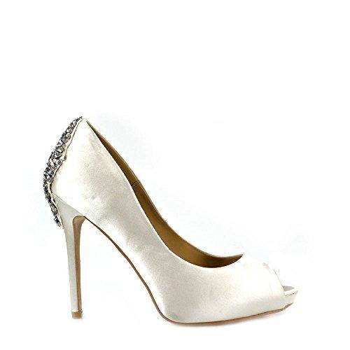 Miss Diva Dames Nina Femmes Talon Haut Stiletto Glisser Avec Des Pierres Précieuses Sur L'ivoire Diamante De Chaussures Arrière Cour Peep Toe