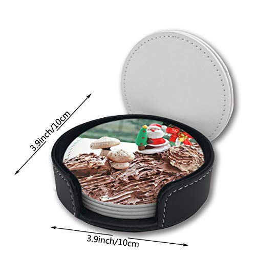 Christmas Cake Yule Log Car Coasters Set Mats Pu Leather Placemats Pattern Decor Ornament Decorations Home Printed Gift Beer Cupholder Table Cocktail 6 Circle Oni Decor (Best Christmas Log Cake)