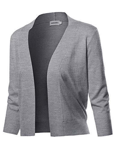 3/4 Length Sleeve Bolero (Solid Soft Stretch 3/4 Sleeve Layer Bolero Cardigan Heather Grey2 Size M)