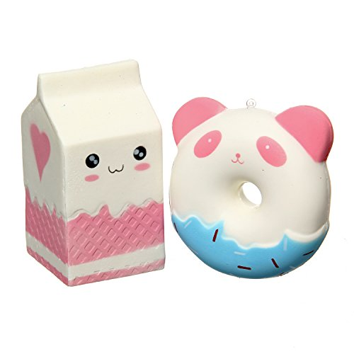 TEEGOMO Cute Panda Donuts and Milk Bag Slow Rising Scented Jumbo Squishy Stress Relief Squeeze Decorations Kids (Cute Donut)