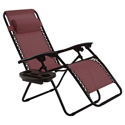 Goplus Folding Zero Gravity Reclining Lounge Chairs Outdoor Beach Patio W/Utility Tray (Wine) by Goplus
