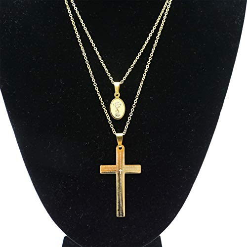 Monrocco Set of 2 Gold-Plated Catholic Stainless Steel Jesus Christ and Crucifix Cross Lord's Prayer Pendant Necklace Religious Jewelry -