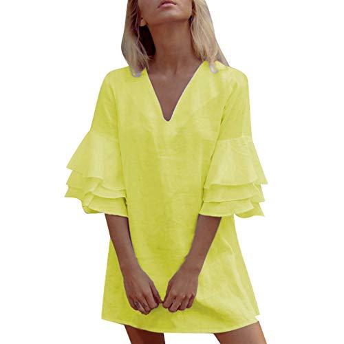 Cenglings Women Sexy V Neck Ruffle Short Sleeve Mini Dress Evening Party Dress Backless Flare Beach Dress Yellow ()