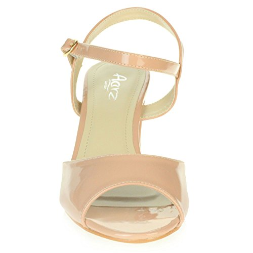 AARZ Ladies Sparkly Medium LONDON Pink Casual Women Size Heel Shoes Block Sandals Party Evening qfYxTnYErA