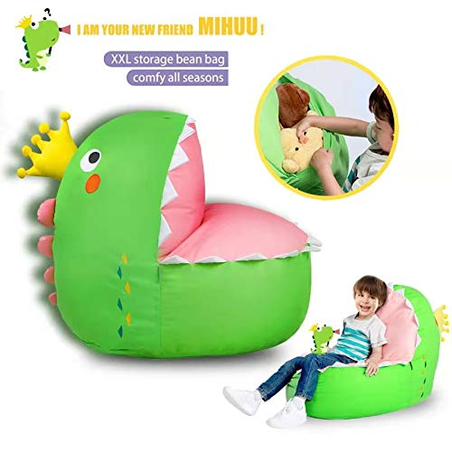 STTIAO Kids Koala Stuffed Animal Storage Bean Bag Sturdy Cotton Bean Bag Cover Bean Bag Chair Cover for Toys and Clothes Kids Gift Extra-Large Size Dinosaur