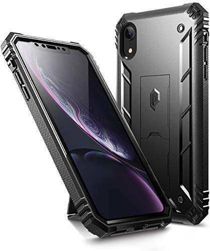 """iPhone XR Rugged Case, Poetic Revolution [360 Degree Protection][Kick-Stand] Full-Body Rugged Heavy Duty Case with [Built-in-Screen Protector] for Apple iPhone XR 6.1"""" LCD Display Black"""