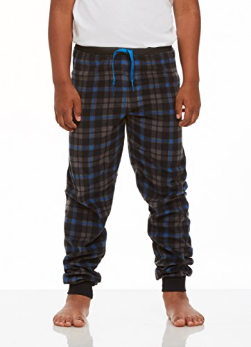 Jellifish Kids Pajamas Boys Cozy Jogger,Black Plaid,Small Boys Pajama Bottoms