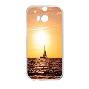Sailing Sea Boat Warm Sunset HTC One M8 Cell Phone Case White phone component RT_403809