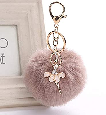 JEWH Fake Rabbit Fur Ball Keychain -Pompom Key Chain- Pom Pom Key Rings Ballet Angel Girl Fourrure Pompom - for Women Bag Jewelry (Light Brown)