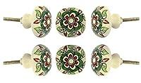 Set of 6 Ceramic Escorial Knob Kitchen Cabinet Cupboard Door Knobs Dressser Wardrobe and Drawer Pull By Trinca-Ferro