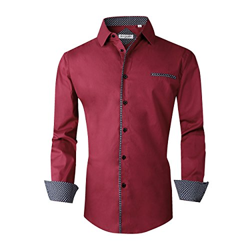 Alex Vando Mens Dress Shirts Long Sleeve Regular Fit Casual Men Shirt(Burgundy,XLarge)