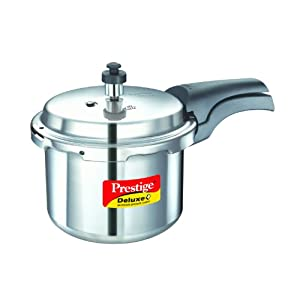 Prestige Deluxe Plus Induction Base Aluminium Pressure Cooker, 3 Litres, Silver