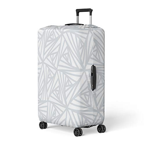 Pinbeam Luggage Cover Gray Abstract Line Geometric Light White and Grey Travel Suitcase Cover Protector Baggage Case Fits 22-24 inches