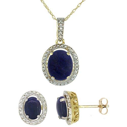 Jewellery World Bague en or jaune 9carats naturelles Lapis ovale boucles d'oreilles et pendentif Set Accents de diamant