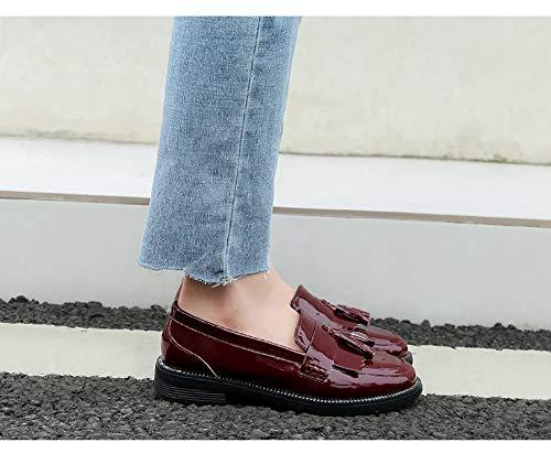 Schuhe Leder größe 36 Stil Loafer on Schuhe Weinrot Farbe Herbst Slip Klassiker Frauen HWF Britischen PU Damenschuhe Flache Freizeit qxwHYIUTT