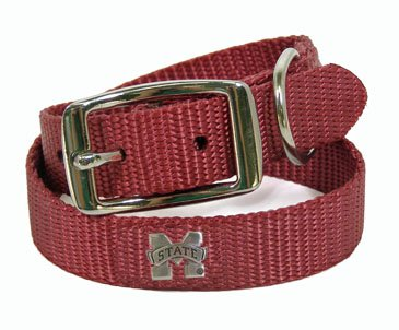 Small Mississippi State Maroon Nylon Dog Collar - .5 inch wide Size: 1-2 Wide 8 Long