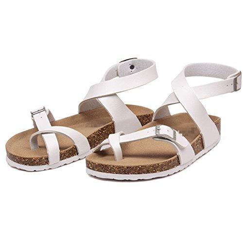Corcho Mujer Sandalias Gladiador para para Marlow Verano Talla Planos Zapatos Hebilla Grande Playa de Blanco Willie Sandalias Estilo Informal q51twXX