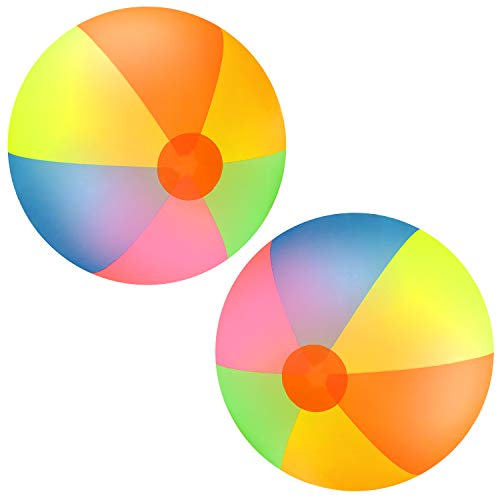 Elcoho 2 Pack Jumbo Inches Beach Balls Classic Rainbow 48