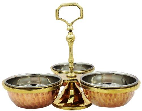 Condiment Dispenser Centerpiece Copper Stainless Steel Pickle Set Indian, Bowl Diameter 3.2 Inch