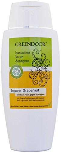 Greendoor Natur Shampoo Ingwer Grapefruit 200ml - Männer-Shampoo / for men, für kräftiges Haar & gegen Schuppen - aus Bio Olivenöl, basisches Shampoo ohne Silikon, ohne Sulfate, ohne Konservierungsmittel, basische BIO Haarpflege