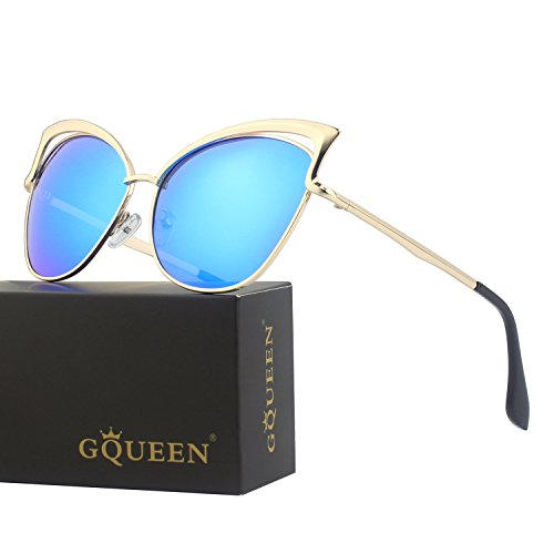GQUEEN Women's Oversized Polarized Metal Frame Mirrored Cat Eye Sunglasses - Gold Cat Eye