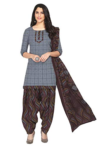 Miraan Women's Cotton Unstitched Dress Material (SAN1259, Grey, Free Size)