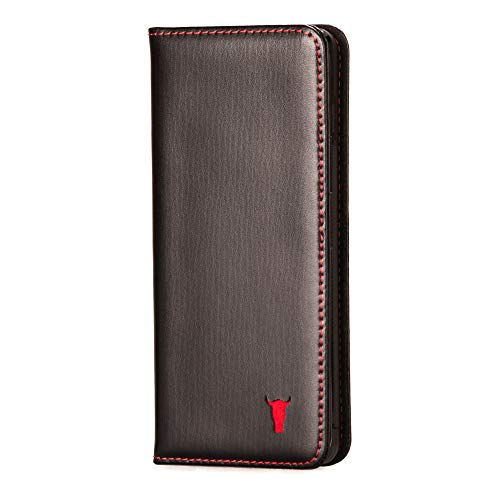 Black Leather Cover (TORRO Premium Leather Case Compatible with Samsung Galaxy S10 with Stand Function, Genuine Black Italian Leather Cover for S10 - Black)