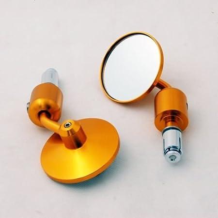 BADASS SHARKS Universal Round Bar End Mirrors Aluminum 7//8 Handle Bar End Side Rearview Mirrors mask Golden Aluminum