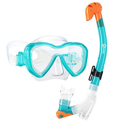 Dorlle Kids Snorkel Set Snorkel Mask with Premium Dry Snorkel and Anti-Fog Anti-Leak Diving Goggles Snorkeling Packages Professional Snorkel Set for Children Kid