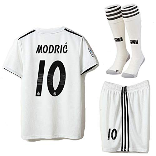 ce50d3a5640 Saint George Real Madrid 2018-2019 Season Modric  10 Home Kids Youths Soccer  Jersey   Shorts   Socks Size 8-9years White
