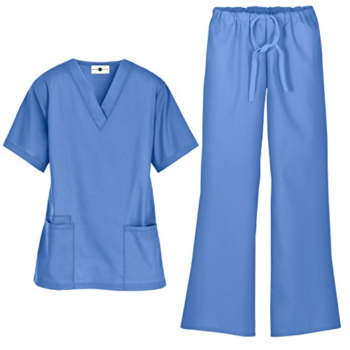 Women's Scrub Set/Medical V-Neck Top & Drawstring Scrub Pant (XS-3X, 7 Colors) (X-Small, Ceil)