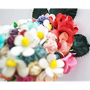 Mixed Color 10mm Artificial Mulberry Paper Rose Flower Wedding Scrapbook 1.5cm Diy Craft Scrapbook Pink Scrapbooking Bouquet Craft Stem Handmade Rose Valentines Anniversary Embellishment 24