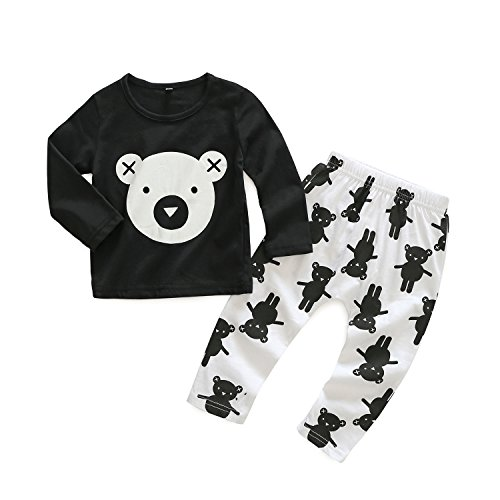 2pcs Baby Boy T-shirt Tops+Pants Casual Outfits (White+Black) - 3