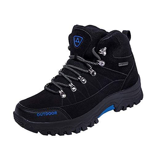 ★Kawaiine★ Men's Ankle HighHiking Boots Outdoor Lightweight Shoes Backpacking Trekking Trails Black