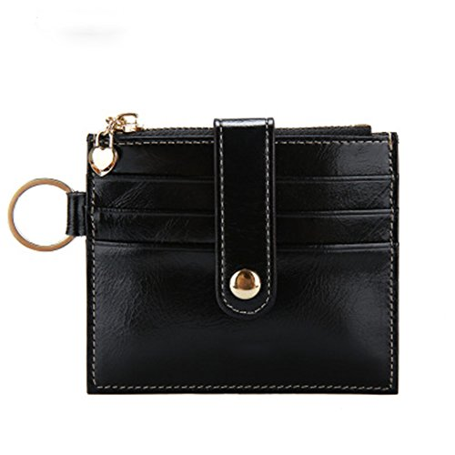 Womens Card Case RFID Card Holder Soft Leather Wallet with ID Window and - Mesh Window Id