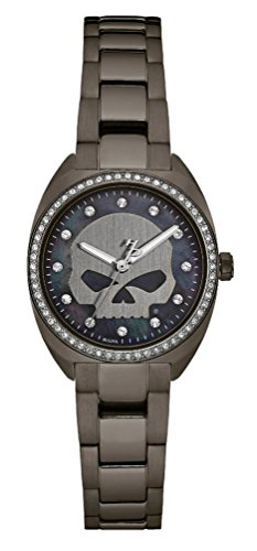 Harley-Davidson Women's Crystal Willie G Skull Watch, Gunmetal Finish 78L124