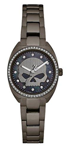 Harley-Davidson Women's Crystal Willie G Skull Watch, Gunmetal Finish 78L124