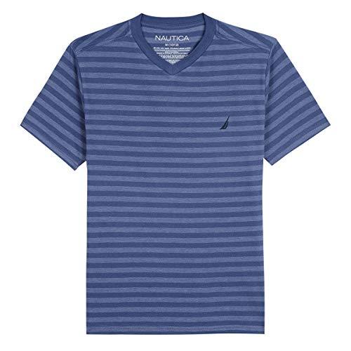 Nautica Big Boys' Short Sleeve Striped V-Neck T-Shirt, finn Ink, Small (8)